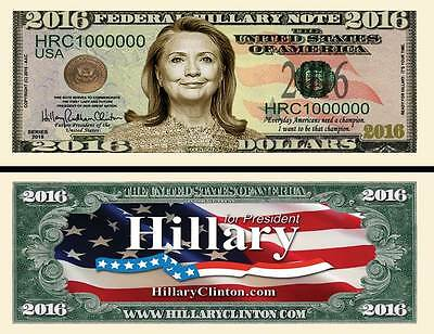 Hillary Clinton for President 2016 Dollar Collectible Funny Money Novelty Note