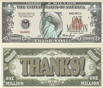 Thanks - a - Million Liberty Dollar Bill Collectible Novelty Note