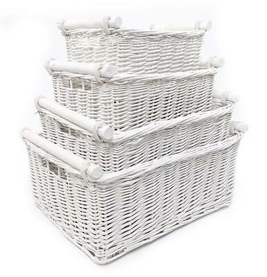 White Log Children Kids Baby Nursery Wicker Storage Basket Toy Box Organiser