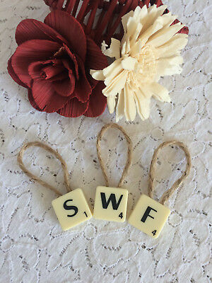 Scrabble Single Letter Decoration Hanging Initial A-Z Jute String Design