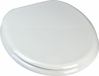 White Wooden Toilet Seat. Chrome Plated Hinges. Fixings Included