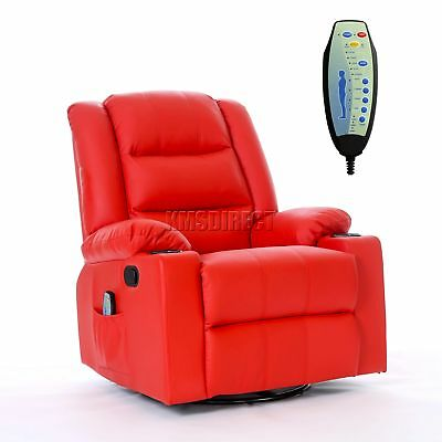 FoxHunter Leather Massage Cinema Recliner Sofa Chair Swivel Rocking MLS-04 Red