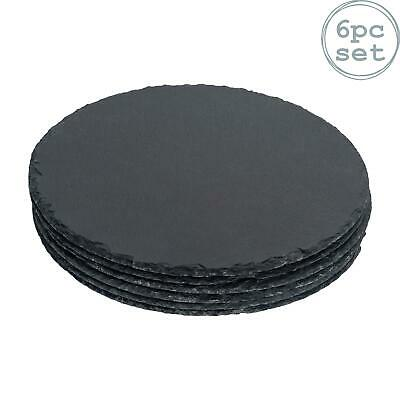 Round Natural Slate Serving Plates Platters Padded Feet Wedding Set Of 6