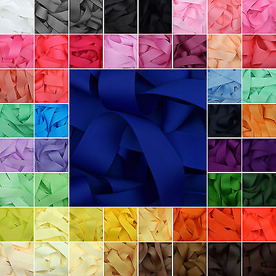 """Grosgrain Ribbon 1 3 or 5 Metre Cut of 50mm - (2"""") in 36 Plain Solid Colours"""