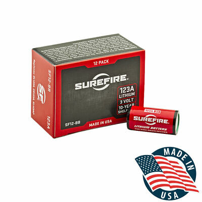 SureFire 123A CR123A 3 Volt Lithium Batteries - 12 Pack! EXP in May 2028