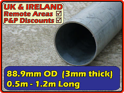 Galvanised Mild Steel Round Tube (pipe, post, pole)| 88.9mm (< 90mm) 3.5"