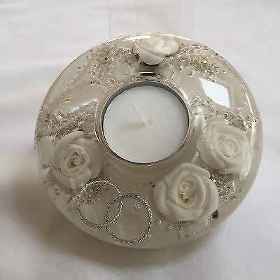 HAND MADE GLASS CANDLE HOLDER WITH FLORAL DESIGN (Mini) White wedding