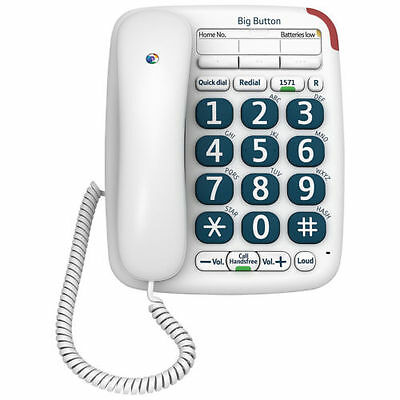 New - Bt Big Button 200 Corded Home / Office Phone White