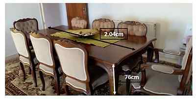 Antique rare Walnut Wood Dining Table with eight (x8) Chairs - SET Collectors