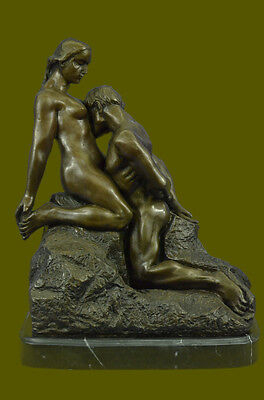 Extra Large Signed Rodin Kiss Romance Love Lovers Bronze Marble Sculpture Statue