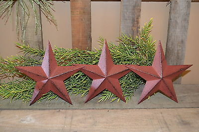 "Set of 6 -  8"" BURGUNDY BLACK BARN STARS Metal Tin  Primitive Country"