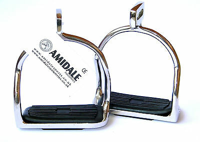 """Double Bent Stirrups Irons Horse Riding Stainless Steel Black Treads 4.75"""""""