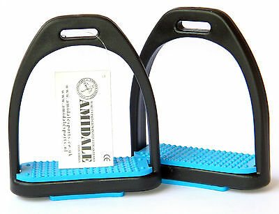 Polymer Stirrups, With Matching Colour Treads In Sky  Colour From Amidale Bnwt