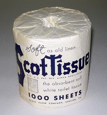 Original 1940's Scot Toilet Tissue Paper Roll 1000 sheets Un-Used