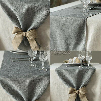 1/5/10 Gray Imitated Linen Burlap Hessian Table Runners Wedding Party Decoration