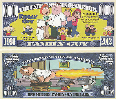 Family Guy Million Dollar Collectible Funny Money Novelty Note