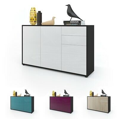 Cabinet Cupboard Chest of Drawers Ben V3  Black - High Gloss & Natural Tones