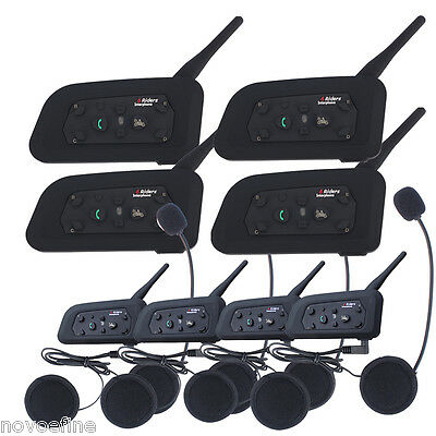4x V6-1200M Intercomunicador Interphone Bluetooth Auriculares Interfono Moto EU