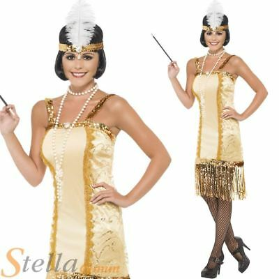 Ladies Gold Charleston Flapper Costume Fancy Dress 20s 30s Gatsby Outfit