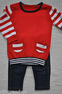 Girls Red Jumper Dress And Leggings Mixed Brands UK Age 3 - 6 Months