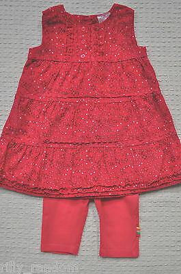 Girls Red Sleeveless Summer Dress And Leggings Mixed Brands UK Age 0 - 3 Months