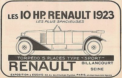 Y7271 RENAULT Torpedo Type Sport - Pubblicità d'epoca - 1923 Old advertising
