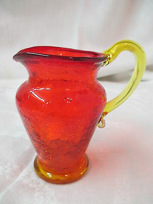 Vintage small Amberina crackle glass Pitcher applied yellow handle hand blown