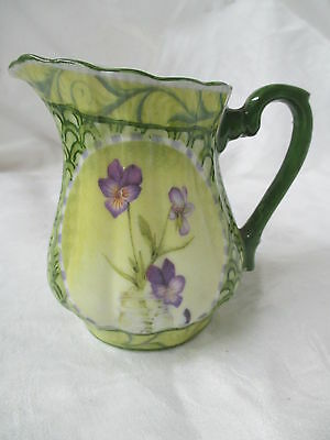 Antique porcelain Creamer small Pitcher hand painted Violets