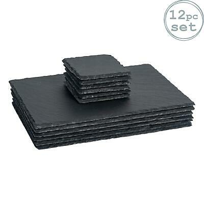 Argon Tableware Square / Rectangle Slate Placemat Set - 6 Coasters / 6 Placemats