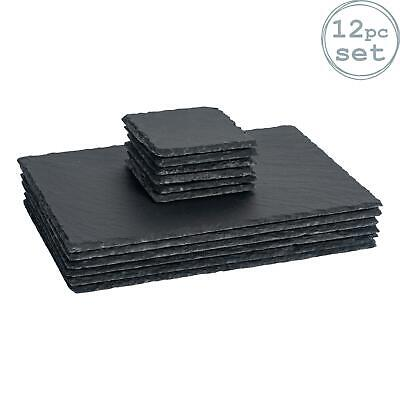 Square / Rectangle Slate Placemat Dinner Set - 6 Coasters / 6 Placemats