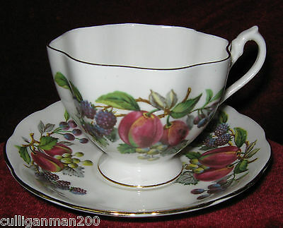 1 - Queen Anne Fruit Design Tea Cup and Saucer (2015-083)
