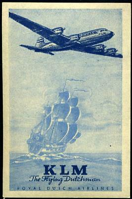 The Flying Dutchman ~KLM AIRLINE~ Great Old Advertising Poster Stamp, c. 1955