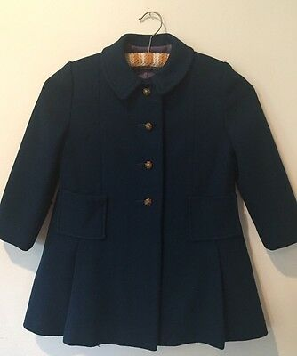 True Vintage 1940s Early 50s Navy Wool Boutique Child's Coat 6/7 Fully Lined