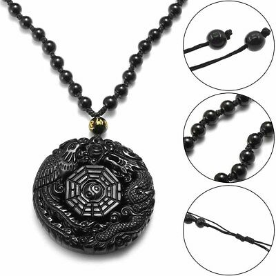Lucky Pendant Necklace Natural Obsidian Carved Chinese Dragon Phoenix BaGua Gift