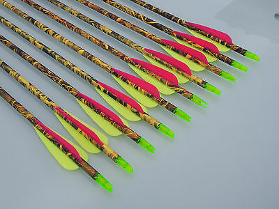 "6 X 32"" Carbon Yellow Camo Arrows For Compound Or Recurve Bow Target Archery New"