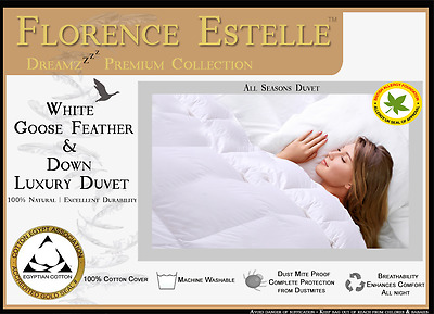 Luxurious White 85% Goose Feather & 15% Down Mattress Topper Enhancer