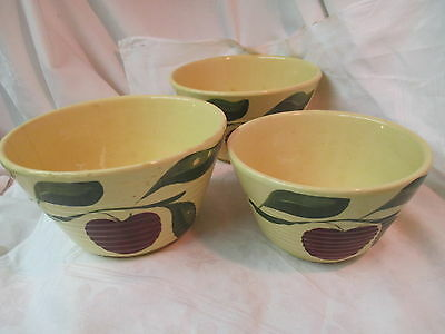 Vtg Watt ribbed Ovenware 3 Mixing Bowls with hand painted Apple & Leaves #7 & #8