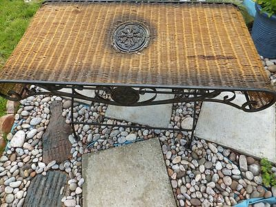 Solid Wrought Iron Folding Patio Garden Table with Woven Wooden Weaved Top