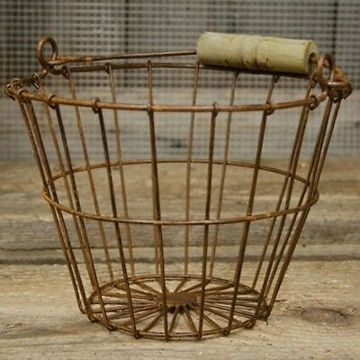 New RUSTY WIRE EGG GATHERING BASKET Chicken Bucket Primitive French Country