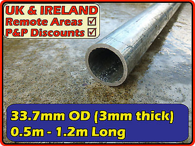 Galvanised Mild Steel Round Tube (pipe,post,pole)| 33.7mm 3mm (>> 30mm) metre ft