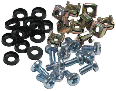 """50 Pack Cage Rack Silver Nuts + Bolts M6 19"""" Mounts"""