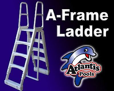 * Heavy Duty * A-Frame Adjustable * Above Ground Swimming Pool Ladder Steps *