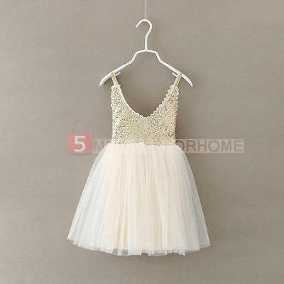 Flower Girls Princess Dress Kids Wedding Party Pageant Bridesmaid Tulle Dresses