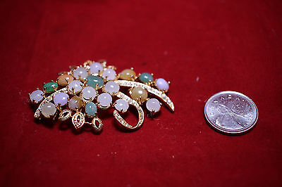 Chinese Jadeite (Fei Cui) Jade Brooch Silver Base Plated Gold