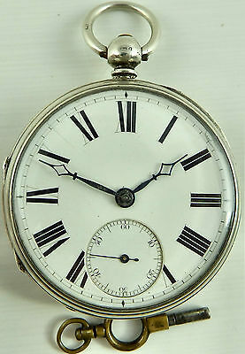 Antique silver fusee pocket watch circa 1874 In Good Working Order