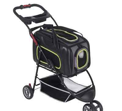 Dog Stroller - Puppy Animal Cat Pet Outdoor Pushchair Buggy Wheels Cart -NEW