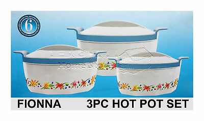 Fionna 3Pc Hot Cold Round Insulated Casserole Hot Pot Set Food Warmer Picnic P-S