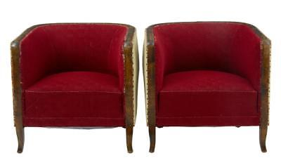 Pair Of Art Deco Birch Club Armchairs