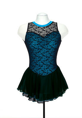 New Ice Dance Skating Dress JERRY'S OVERLACE BLUE MADE ORDER 3 WKS FAB-273