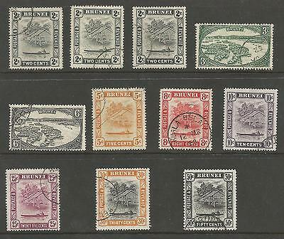 BRUNEI 1947-51 GVI FINE USED SELECTION TO 50c INCLUDING SOME BETTER PERFS C.£70+